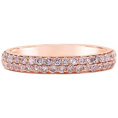 Two-Row Micro-Pave Pink Diamond Wedding Band in Rose Gold
