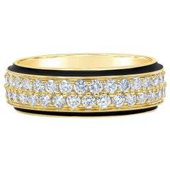 Roman Malakov Two-Row Round Diamond Black Enamel Ring