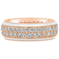 Two-Row Round Diamond White Enamel Ring