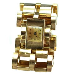 Ladies Yellow Gold Two-Row Bracelet Wristwatch, circa 1940s