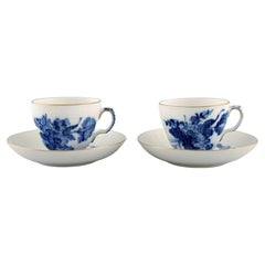 Two Royal Copenhagen Blue Flower Curved Coffee Cups with Saucers with Gold Edge