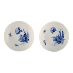 Two Royal Copenhagen Blue Flower Curved Compotes, Model Number 10/1532, 1960s