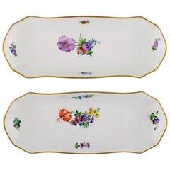 Two Royal Copenhagen Light Saxon Flower Large Oval Dishes