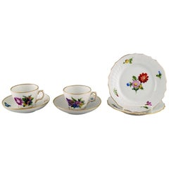 Two Royal Copenhagen Saxon Flower Coffee Cups with Saucers and Two Plates