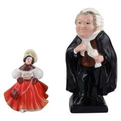 Two Royal Doulton Porcelain Figurines, Dancer and Judge, Buzfuz, Mid 20th C