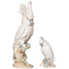 Two Royal Dux Porcelain Models of Cockatoo's