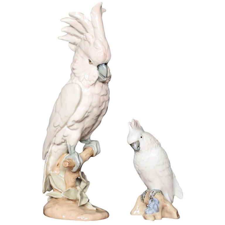 Two Royal Dux Porcelain Models of Cockatoo's