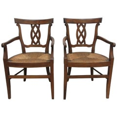 Two Rush Woven Seat Armchairs