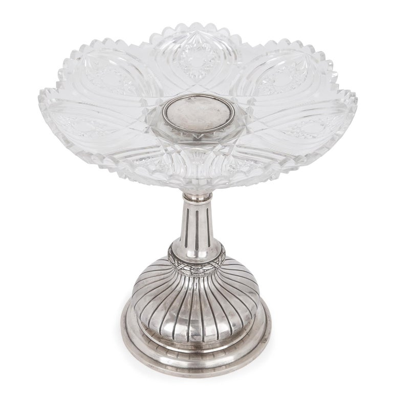 Neoclassical Two Russian Cut Glass and Silver Centrepiece Tazze For Sale