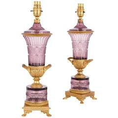 Two Russian Purple Cut Glass and Gilt Bronze Lamps