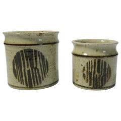 Two Rustic Ceramic Planters / Jars by Drejargruppen Rörstrand, Sweden, 1970s