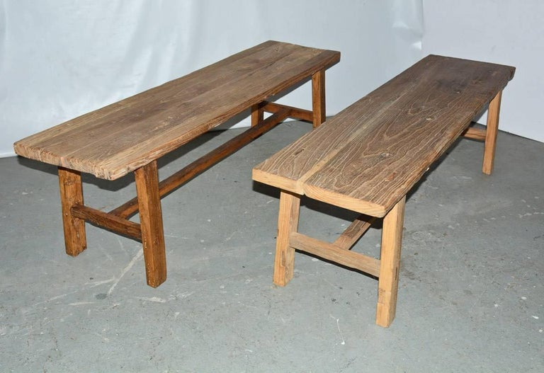Chinese Two Rustic Elmwood Bench-Sold Singly For Sale
