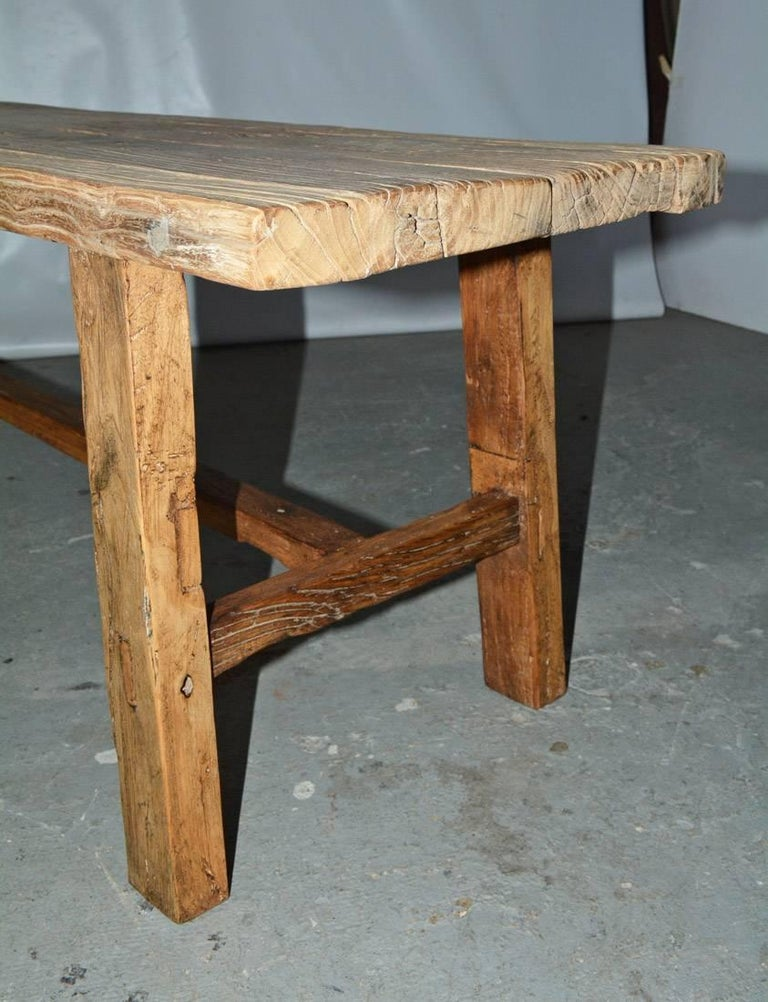 Two Rustic Elmwood Bench-Sold Singly In Good Condition For Sale In Great Barrington, MA