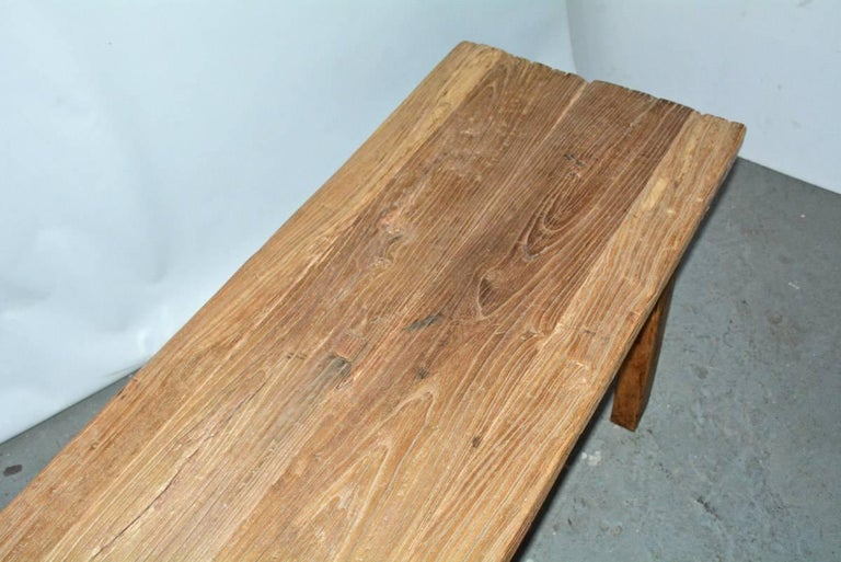 20th Century Two Rustic Elmwood Bench-Sold Singly For Sale
