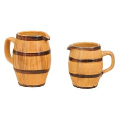 Two Rustic French 19th Century Pottery Pitchers with Yellow and Brown Glaze