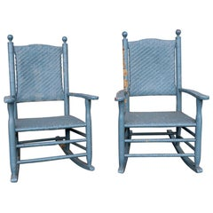 Two Rustic Porch Rockers in Peely Paint Finish