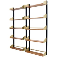 Two 'S2' Bookshelves in Black Aluminium, Brass and Wood by FEAL, Italy, 1957