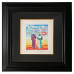 """""""Two Sages Looking at Sunrise"""" Serigraph by Peter Max"""