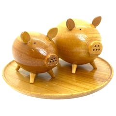 Two Salt and Paper Shaker Pigs on Tray, Wood Danish Design, 1960s