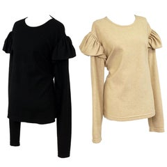Two Sam Kori George Cashmere Sweaters.  Black And Cream With Sholder Detail.