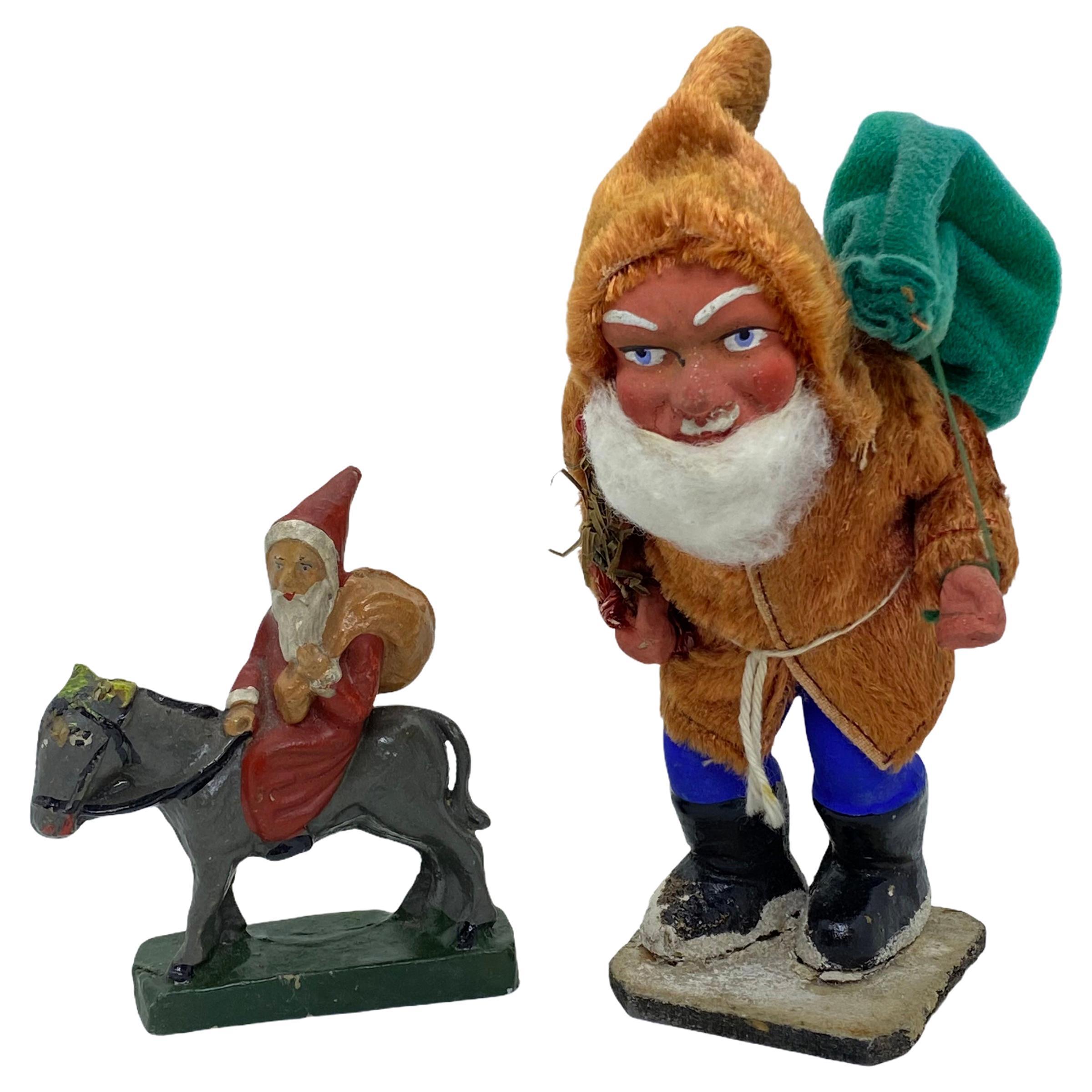 Two Santa Claus Figures Antique German Christmas, 1920s