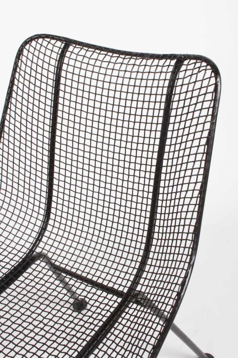 Two Satin Black Russell Woodard Sculptura Mesh Dining Side Chairs, Restored For Sale 2