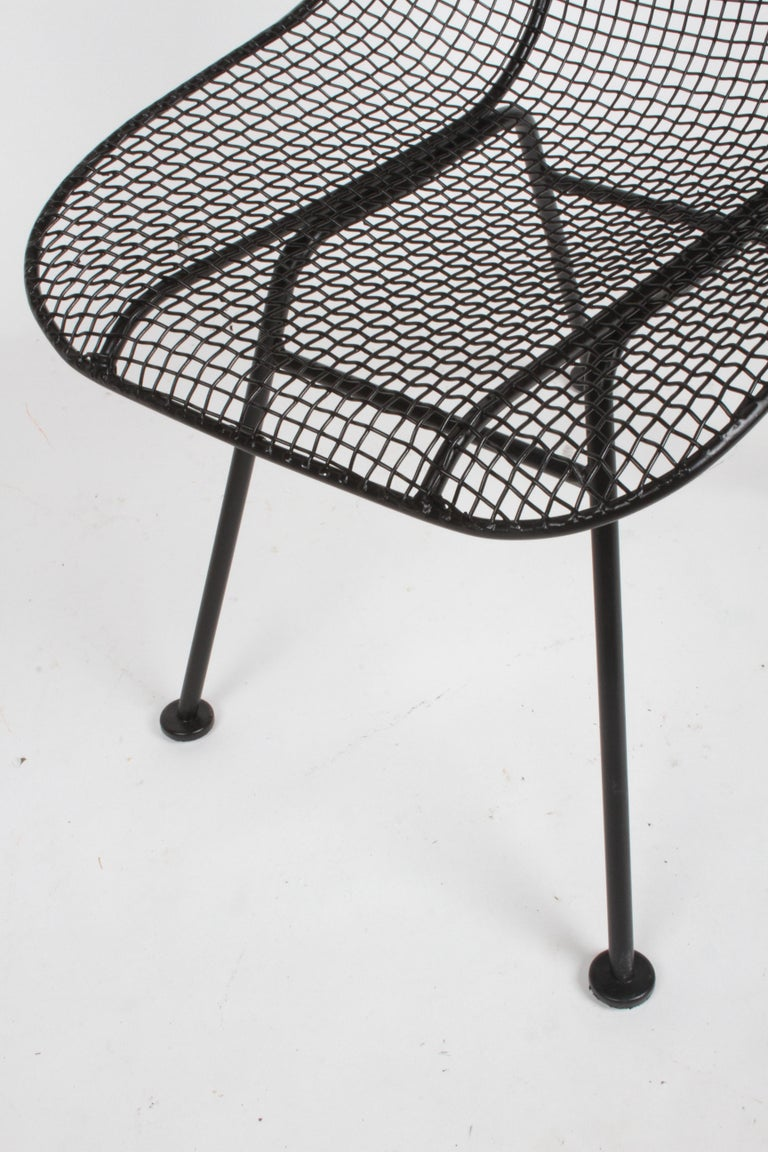 Two Satin Black Russell Woodard Sculptura Mesh Dining Side Chairs, Restored For Sale 3