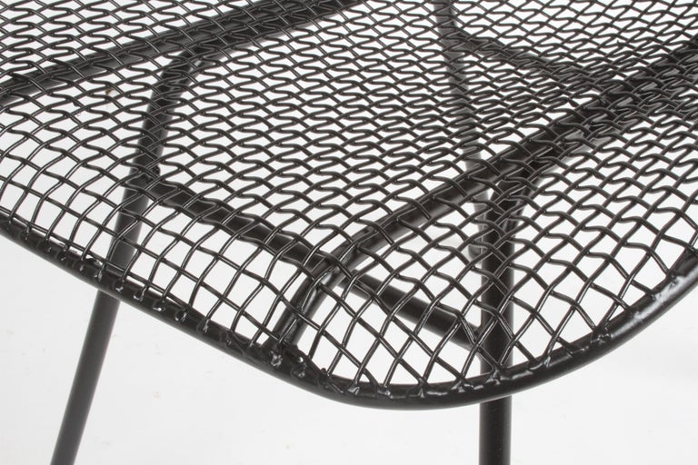 Two Satin Black Russell Woodard Sculptura Mesh Dining Side Chairs, Restored For Sale 4