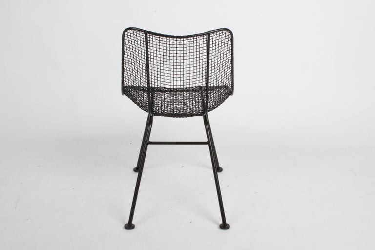 Two Satin Black Russell Woodard Sculptura Mesh Dining Side Chairs, Restored For Sale 5
