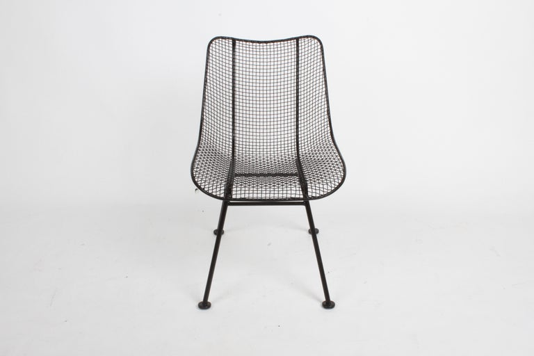 Mid-Century Modern Two Satin Black Russell Woodard Sculptura Mesh Dining Side Chairs, Restored For Sale