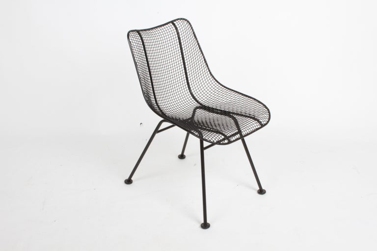 American Two Satin Black Russell Woodard Sculptura Mesh Dining Side Chairs, Restored For Sale