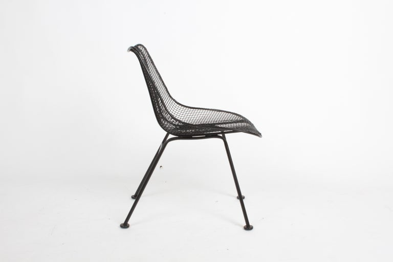 Painted Two Satin Black Russell Woodard Sculptura Mesh Dining Side Chairs, Restored For Sale