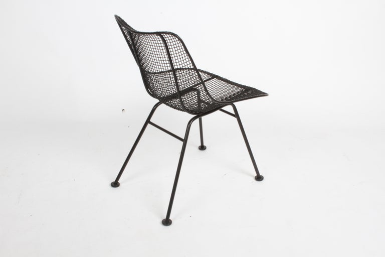 Two Satin Black Russell Woodard Sculptura Mesh Dining Side Chairs, Restored In Good Condition For Sale In St. Louis, MO