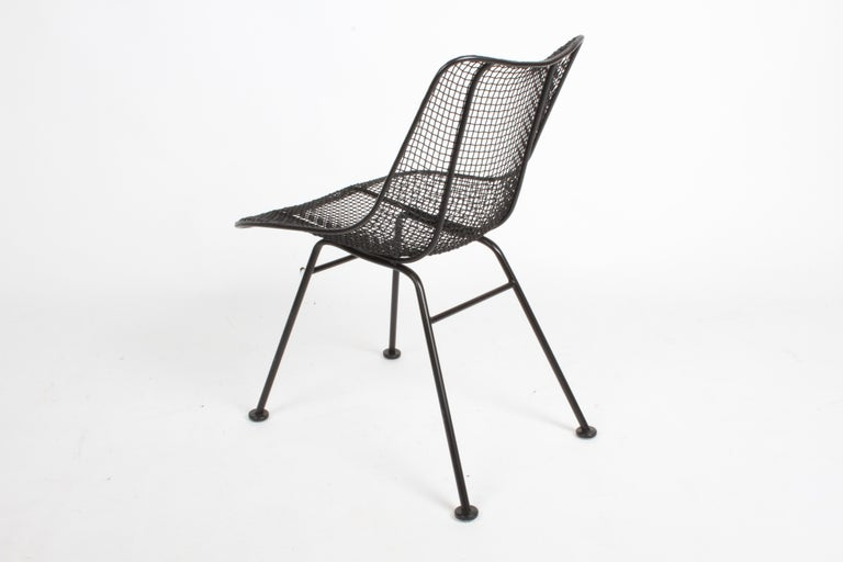 Iron Two Satin Black Russell Woodard Sculptura Mesh Dining Side Chairs, Restored For Sale