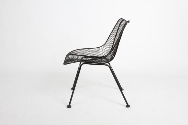 Two Satin Black Russell Woodard Sculptura Mesh Dining Side Chairs, Restored For Sale 1