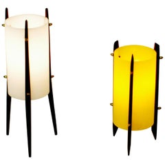 Two Scandinavian Modern Teak Table Lamps attr. to U. & Ö. Kristiansson for Luxus