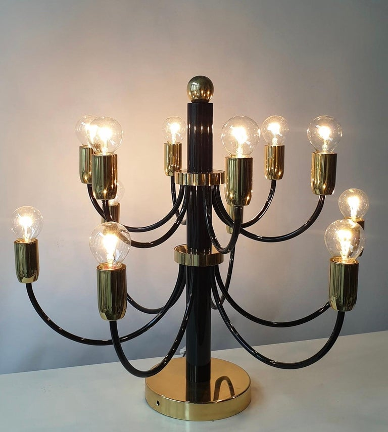 Two Sciolari Brass Chandelier or Flushmount Light For Sale 4