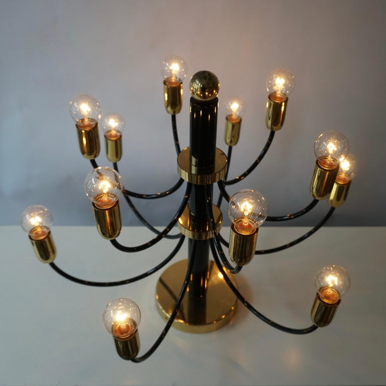 Two Sciolari Brass Chandelier or Flushmount Light For Sale 7