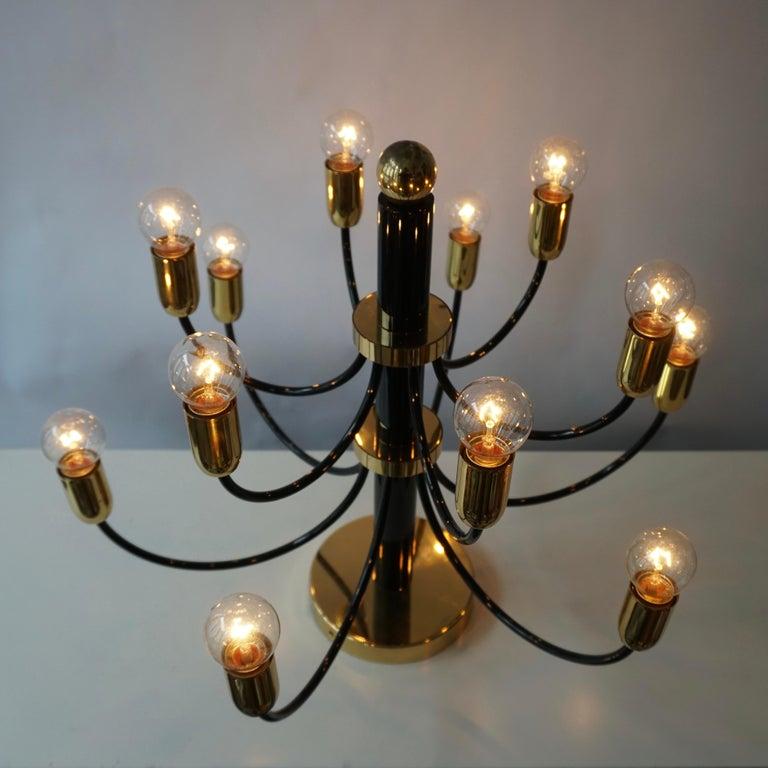 Two Sciolari Brass Chandelier or Flushmount Light For Sale 7