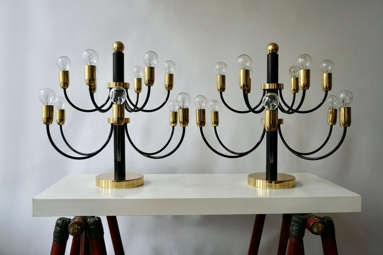 Vintage flushmount 12-light points chandelier by Gaetano Sciolari for Boulanger.
