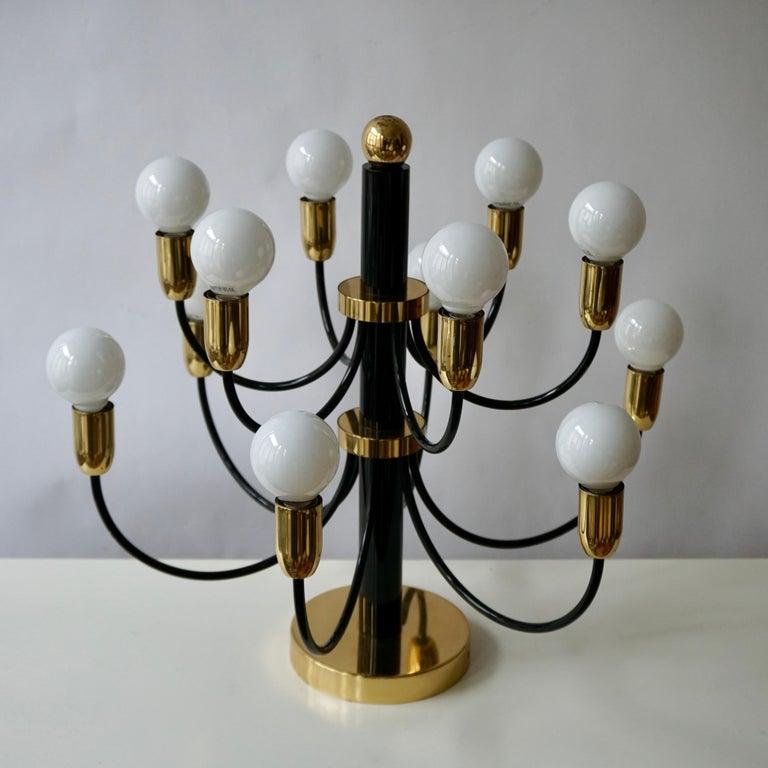 Mid-Century Modern Two Sciolari Brass Chandelier or Flushmount Light For Sale