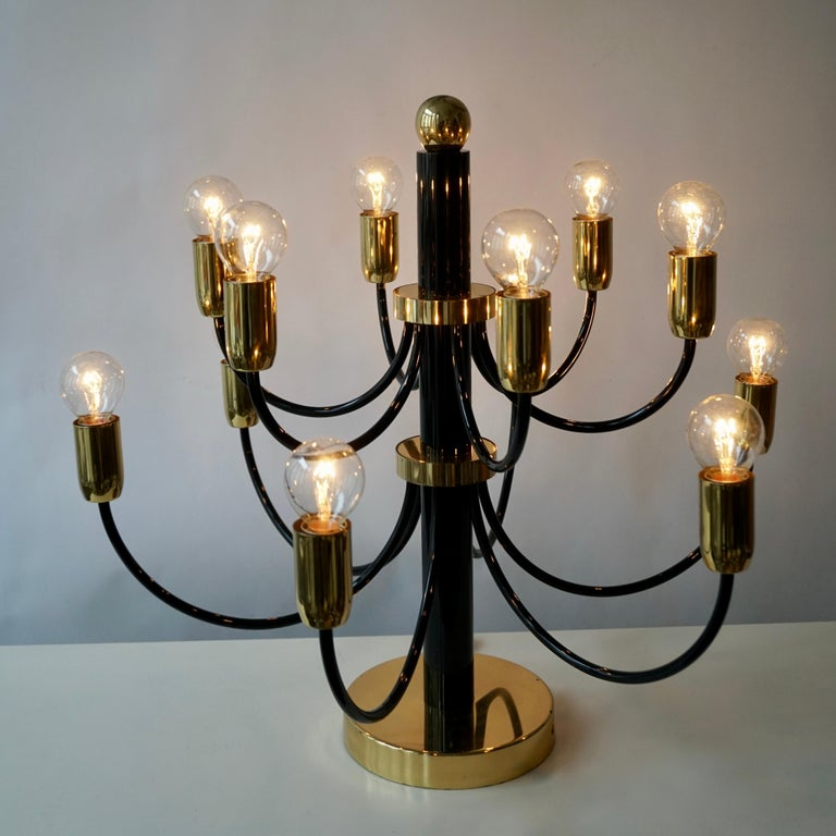 Italian Two Sciolari Brass Chandelier or Flushmount Light For Sale