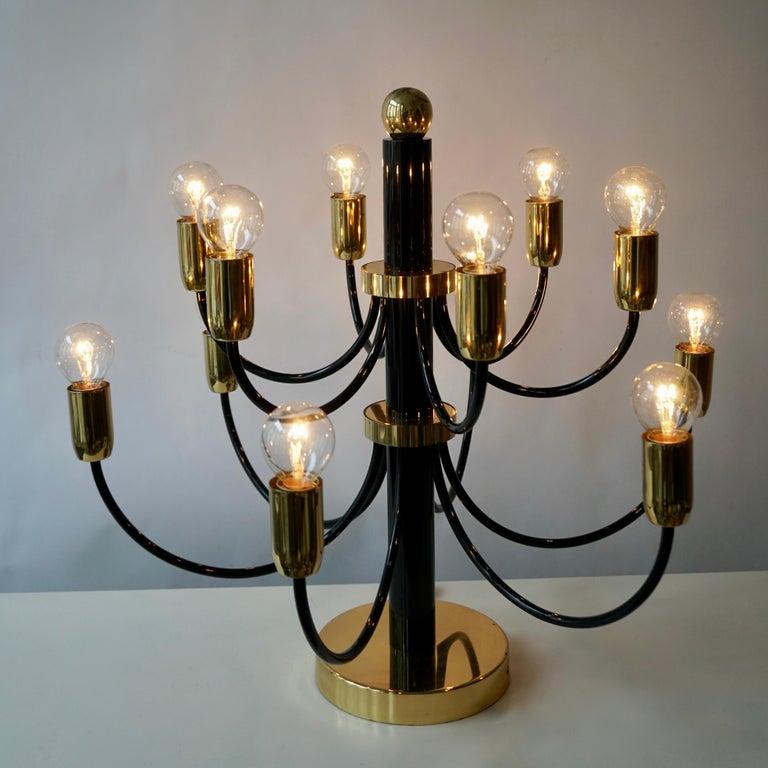 Italian Two Sciolari Brass Chandelier or Flushmount Light For Sale