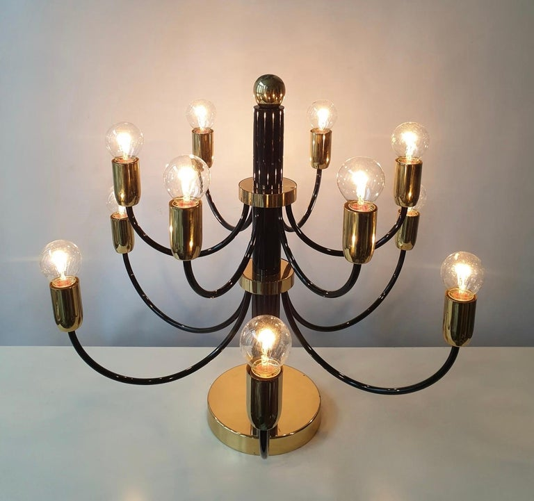 Two Sciolari Brass Chandelier or Flushmount Light In Good Condition For Sale In Antwerp, BE