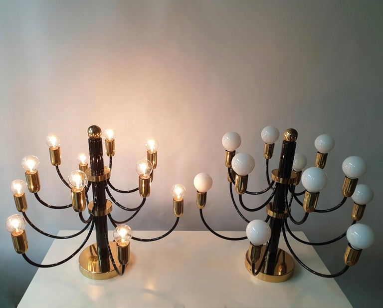 Two Sciolari Brass Chandelier or Flushmount Light For Sale 1