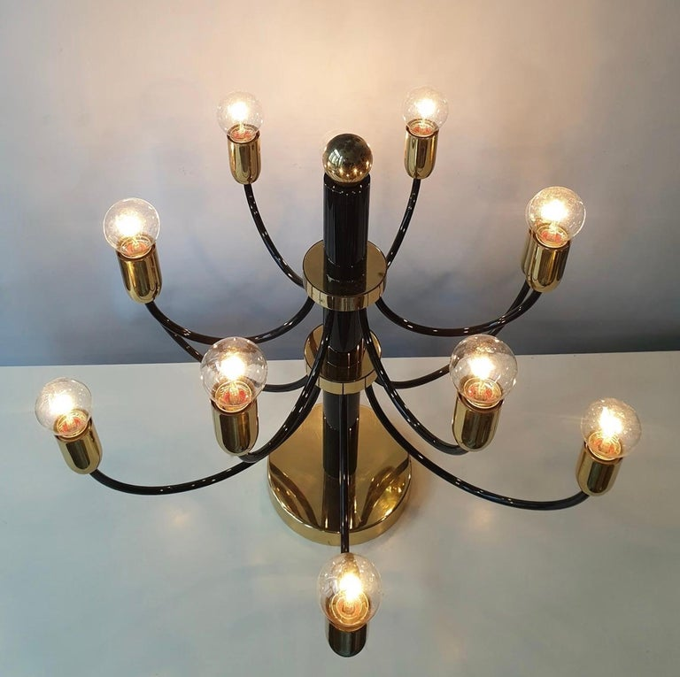 Two Sciolari Brass Chandelier or Flushmount Light For Sale 2