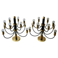 Two Sciolari Brass Chandelier or Flushmount Light