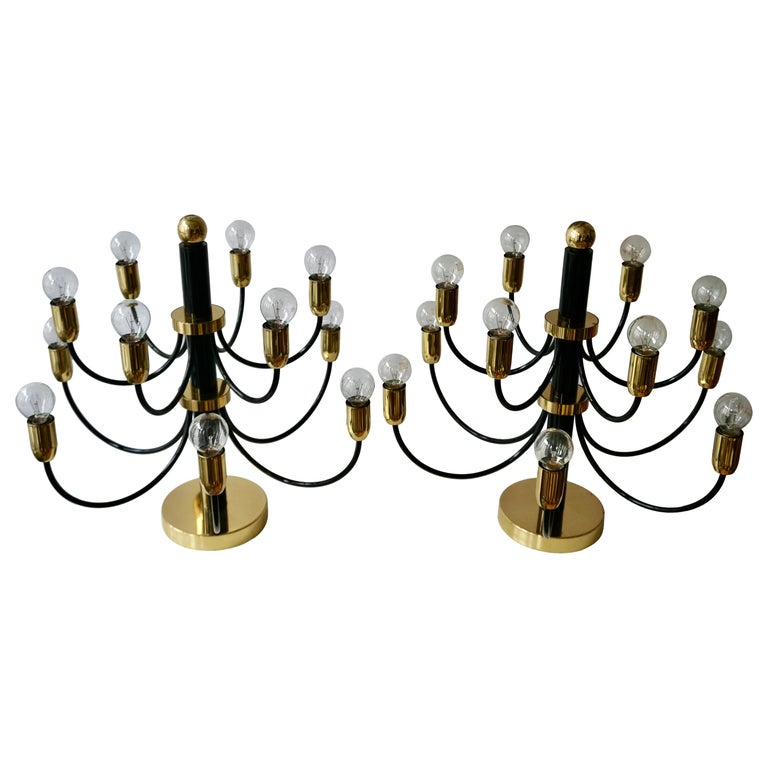 Two Sciolari Brass Chandelier or Flushmount Light For Sale