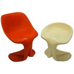 Two Sculptural Fiberglass Chairs by Jean Dudon, France, 1970