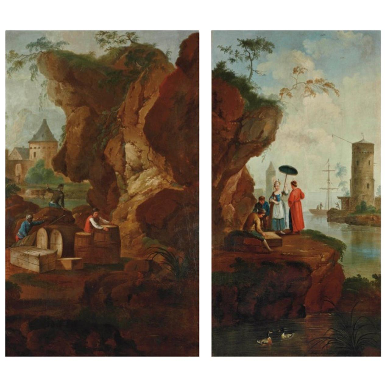 Two Seascapes with Figures, Oil on Canvas, Manner of Claude-Joseph Vernet